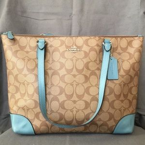 BNWOT Coach C Signature Canvas Tote - Brown & Teal